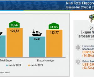 BPS: Nilai Ekspor Januari-Juli 2021 Tumbuh 33,94 Persen