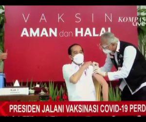 Presiden Jokowi Menjadi yang Pertama Mengawali Vaksinasi Covid-19 di Indonesia